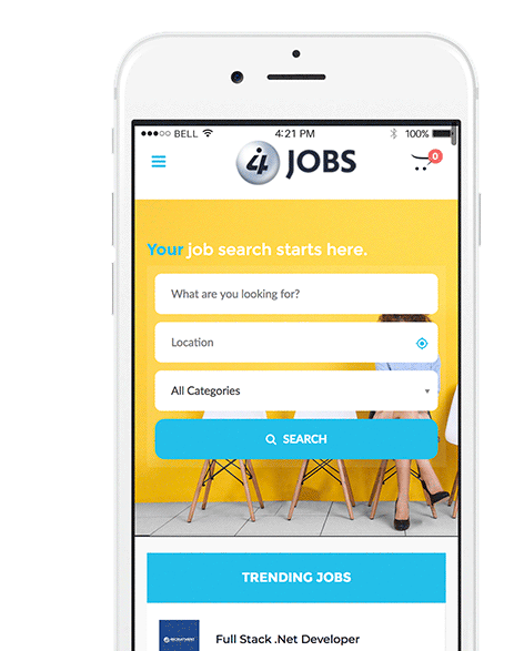 i4 Jobs Mobile Website Mockup