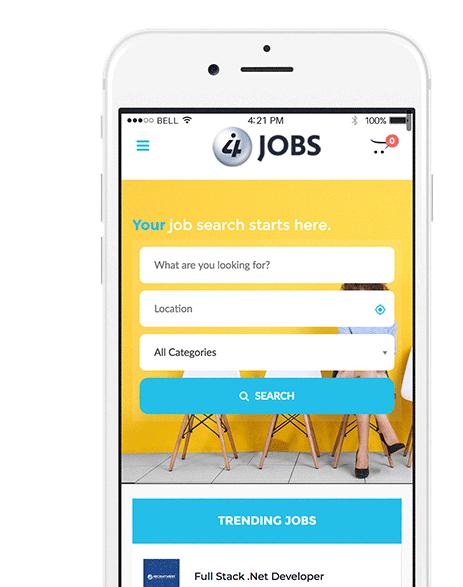 i4 Jobs Mobile Website Mockup